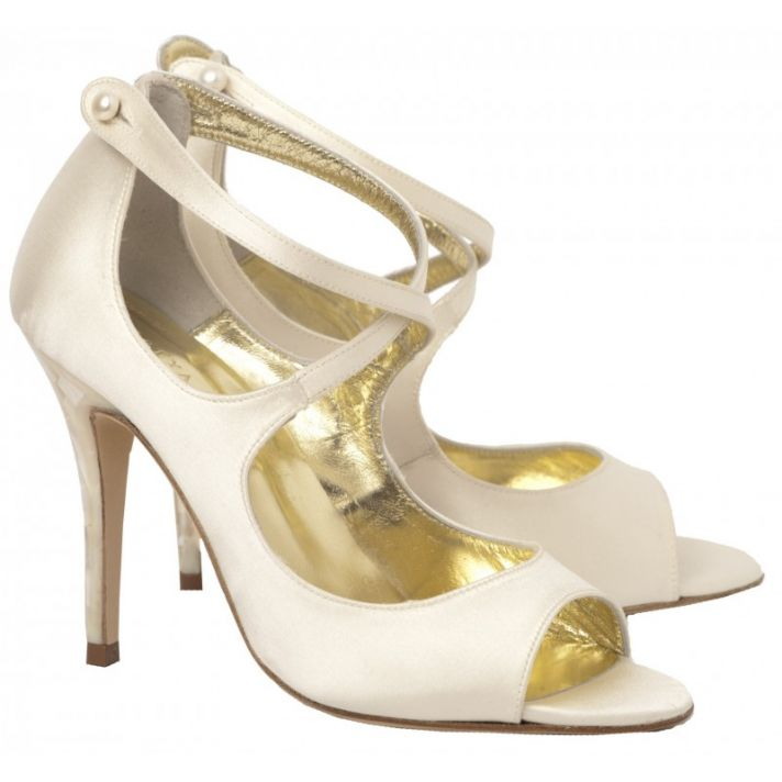 Aide Bridal Shoe with Crossover Satin Straps