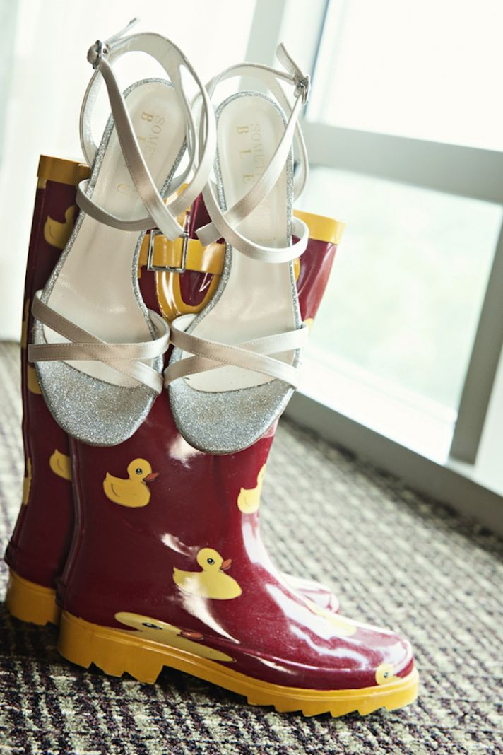 Rainboots and Bridal Shoes