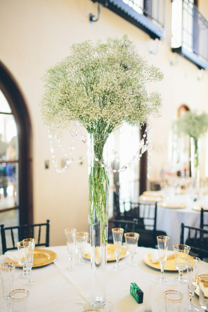 Gorgeous Babys Breath Centerpiece with Hanging Jewels