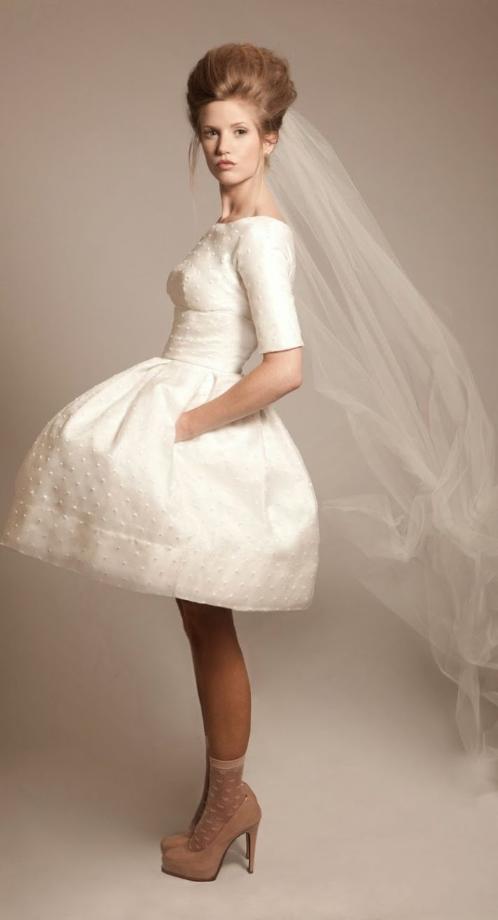 Short Wedding Dress with Dot Details