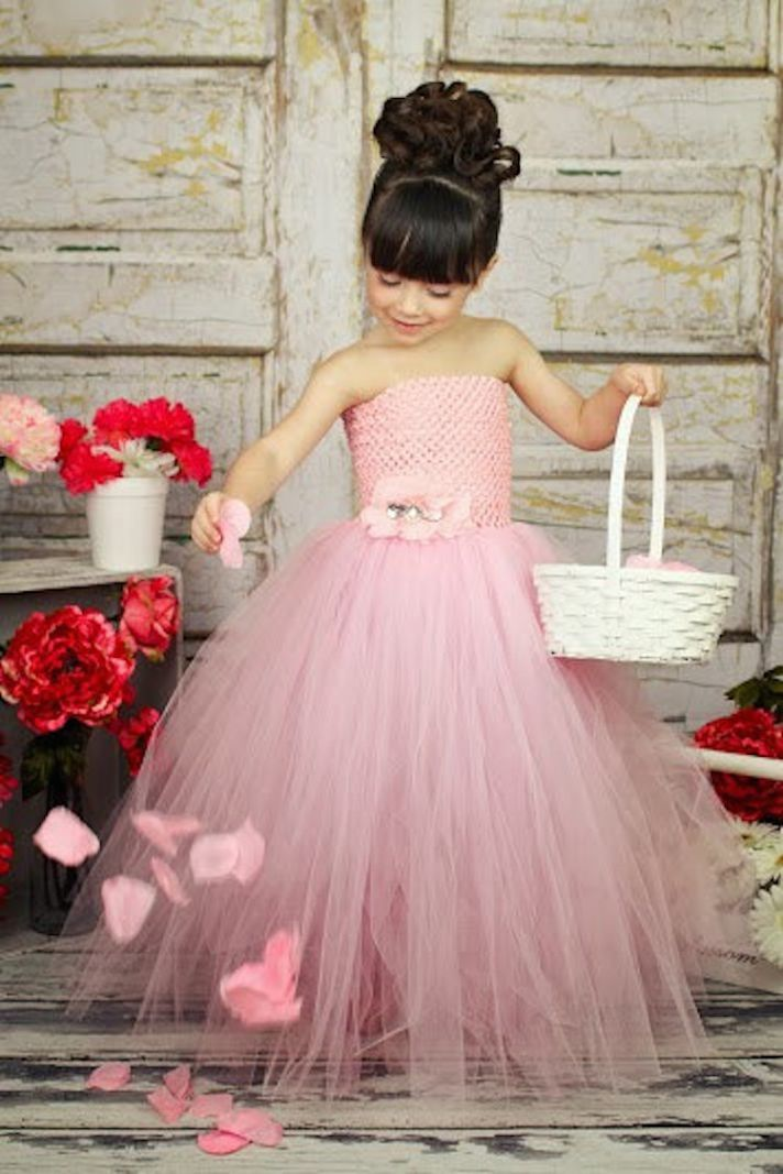 Pink Tulle Flower Girl Dress with Crochet Top