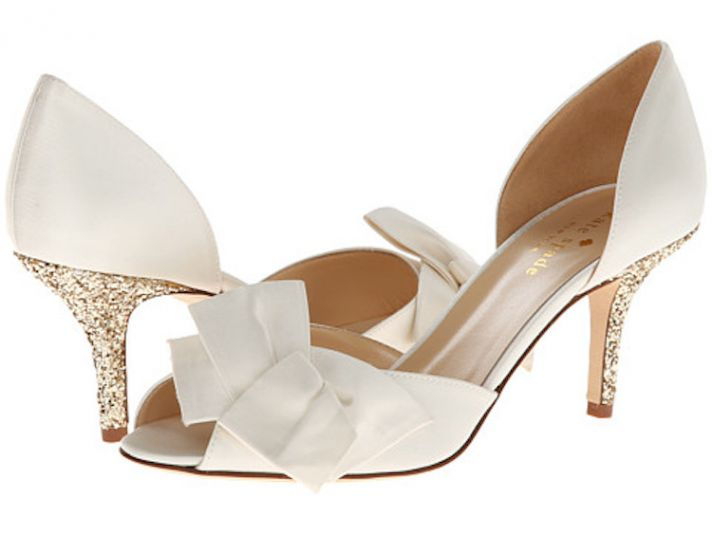 Ivory Bridal Shoes with Bow and Gold Blingy Heels