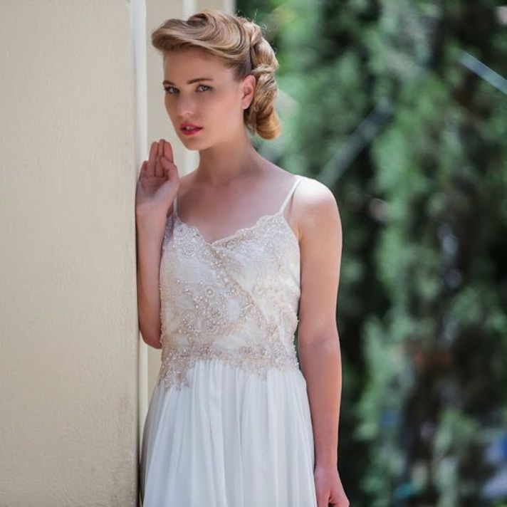 Hand Dyed and Beaded Lace Wedding Dress