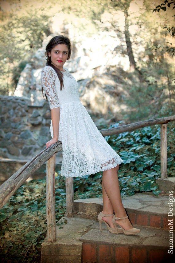 Satin Chantilly Lace Short Wedding Dress