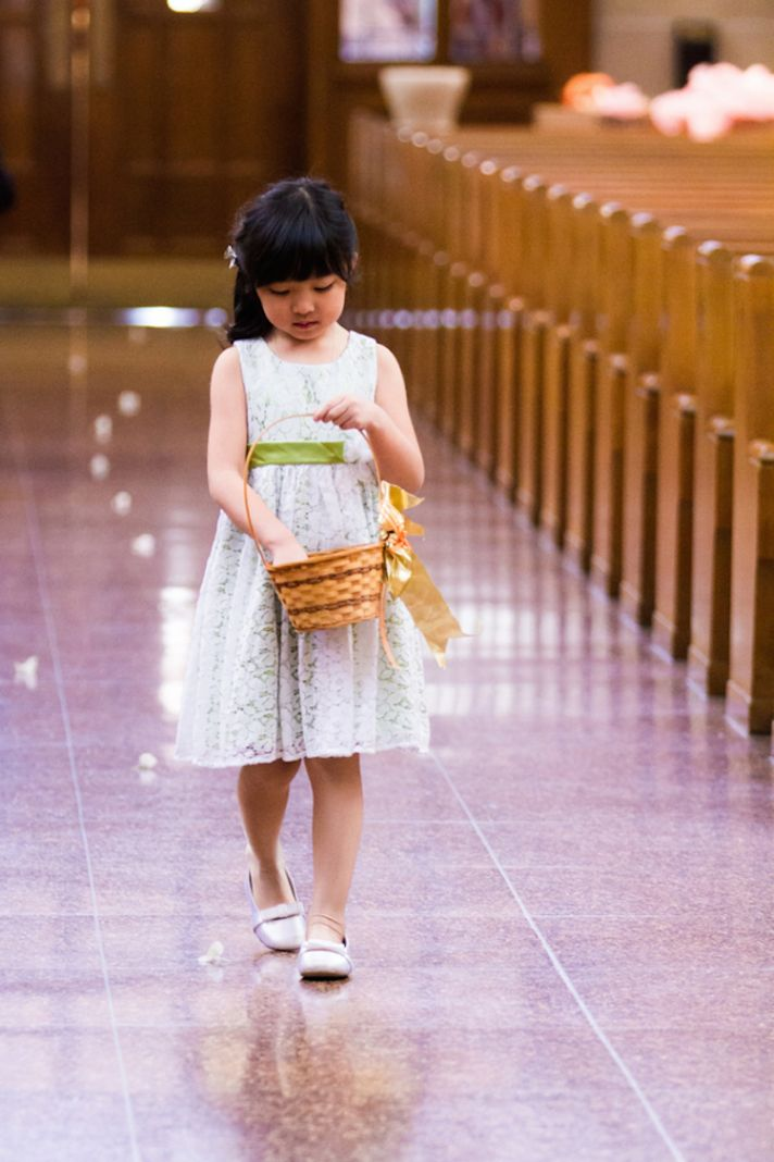 Sweet Flower Girl Dress with Green Ribbon