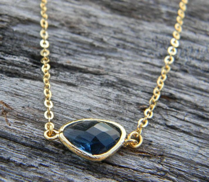 Sapphire Blue and Gold Asymmetrical Necklace
