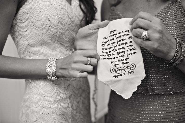 Sweet Monogrammed Hankerchief for Mother of Bride
