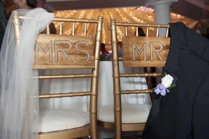 Rustic Mr and Mrs Wood Carved Chair Signs