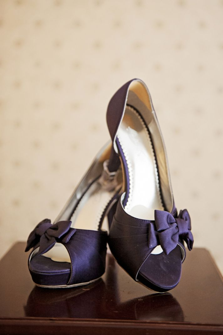 Purple Bridal Shoes with Bow Adornments