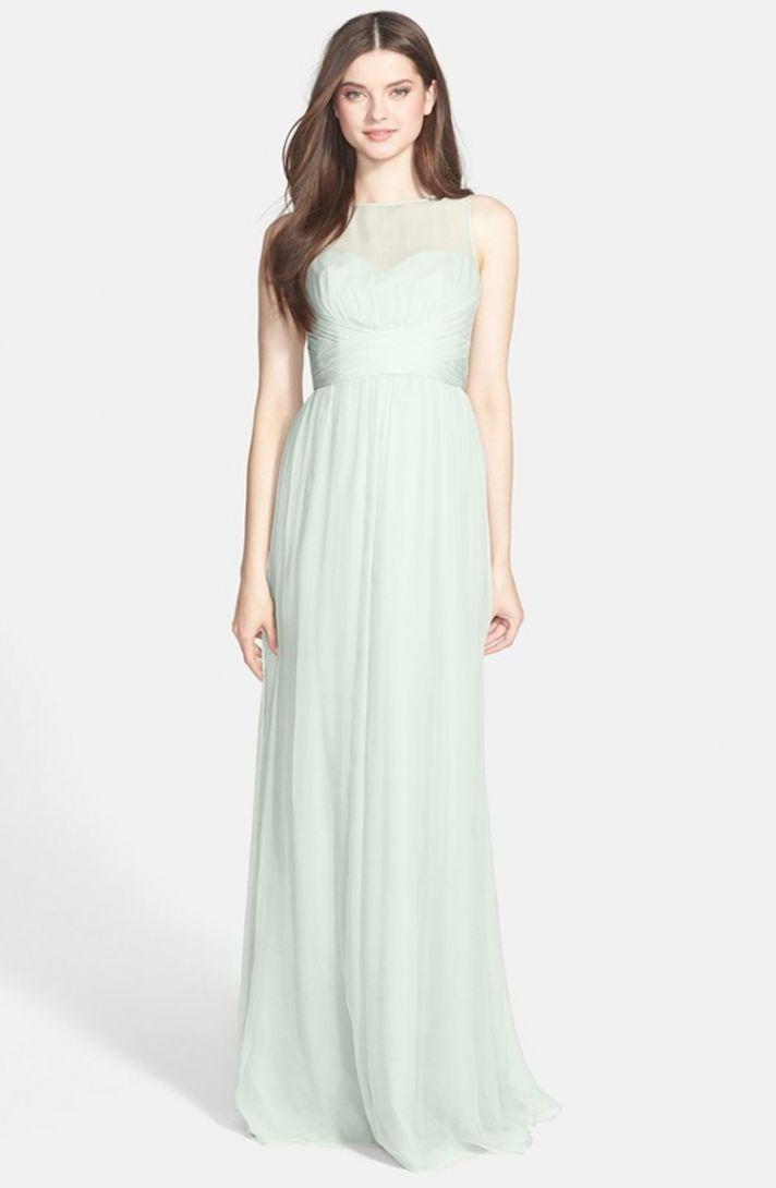 Amsale Illusion Yoke Crinkled Silk Chiffon Gown in Mint