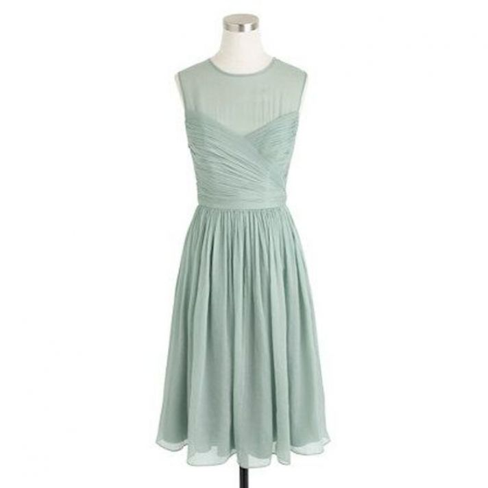 Short Mint Bridesmaid Dress with Illusion Neckline
