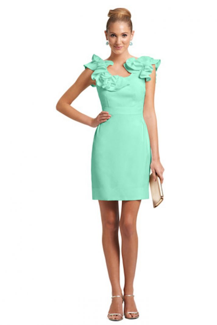 Short Mint Bridesmaid Dress with Ruffled Neckline