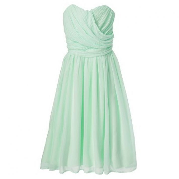 Chiffon Strapless Bridesmaid Dress in Mint