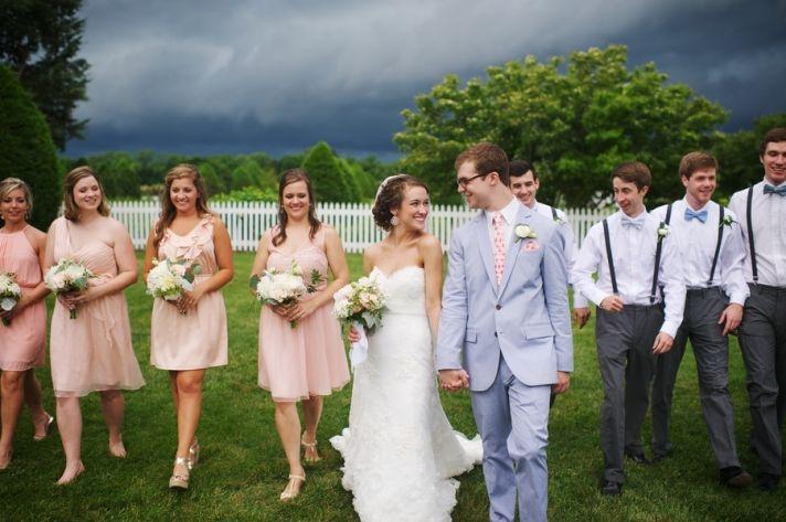 Bridal Party Under Storm Clouds
