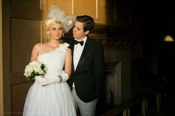 One Bride in A Suit and A Bride in A Gown