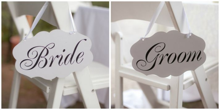 Classic Bride and Groom Reception Chair Sides