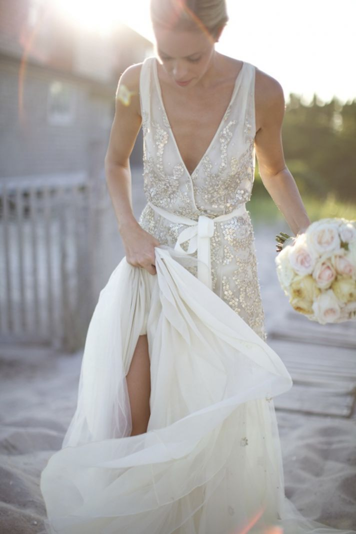 Gorgeous Wedding Dress with Simple Sequins
